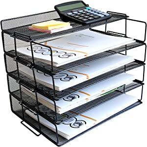 4 Tier Reinforce Stackable Paper Document Letter Tray Desk Organizer, New Design Metal Mesh File Holder Organizer for Home Office School, Folders Letters Paper Storage