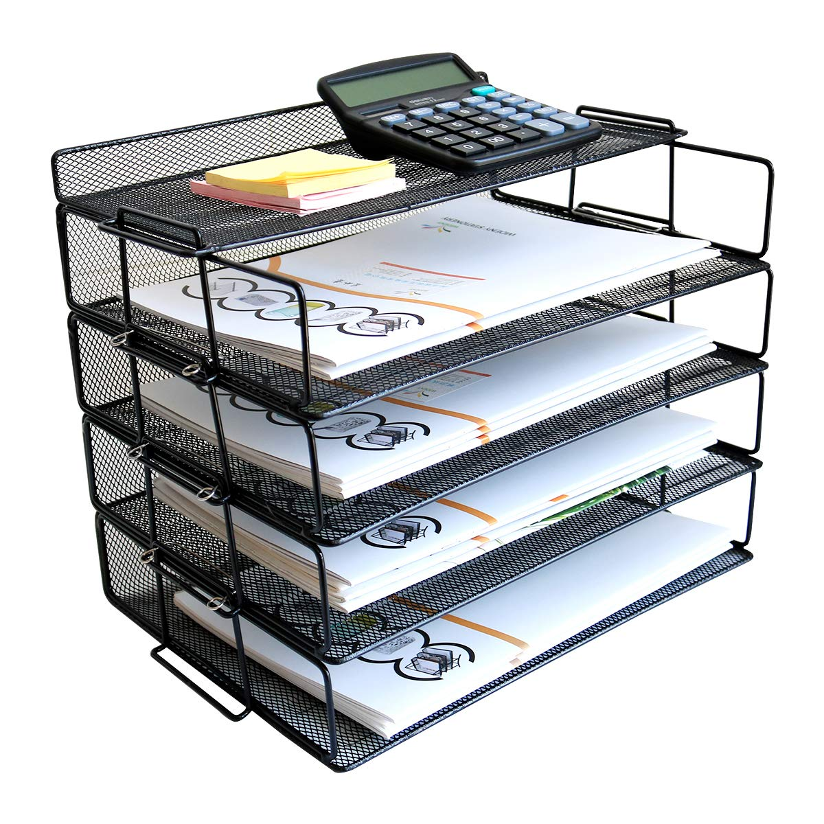 4 Tier Reinforce Stackable Paper Document Letter Tray Desk Organizer, New Design Metal Mesh File Holder Organizer for Home Office School, Folders Letters Paper Storage by WIDENY
