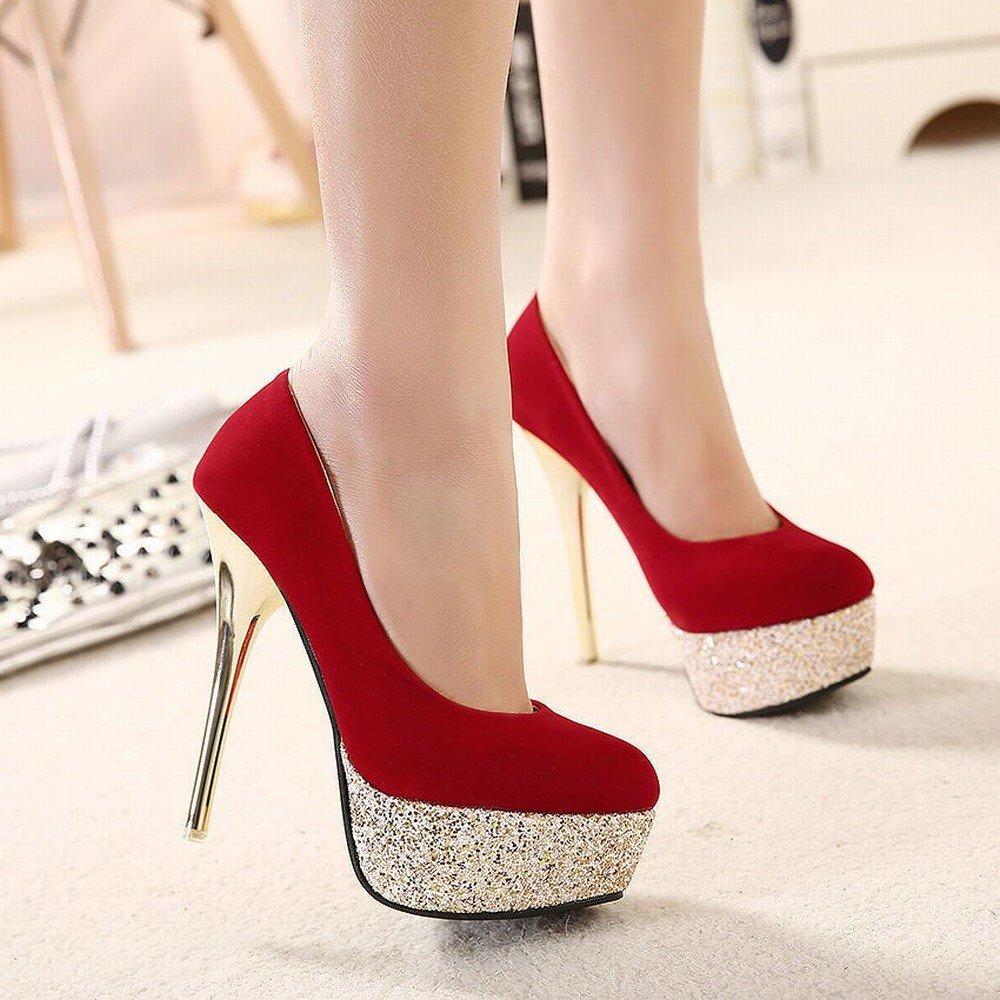 VSR Chaussures à Talons Hauts avec Des Chaussures de Haute Couture avec Des Chaussures Hautes, Des Chaussures Hautes, Daim Femme Mince avec Des Chaussures de Femmes Simples