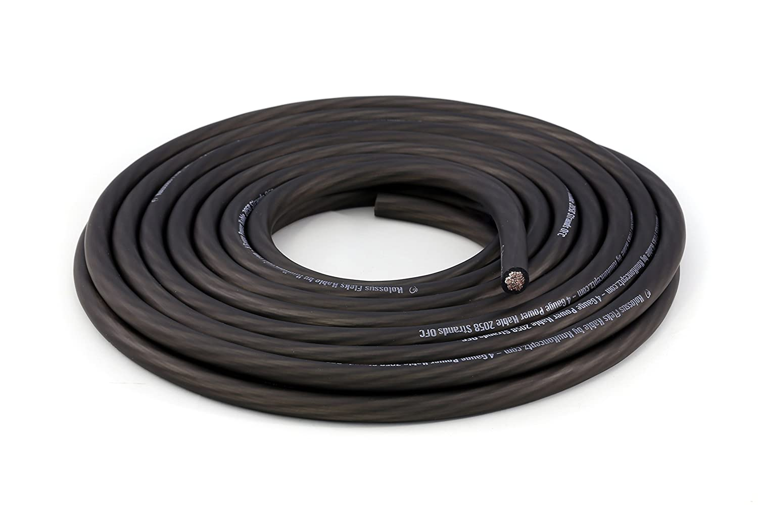 15 ft 4 AWG KnuKonceptz Kolossus Flex Kable OFC 4 Gauge Power Wire Copper Cable Black
