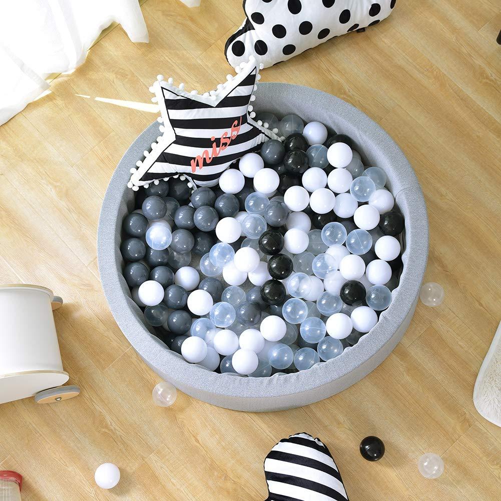 Triclicks B/éb/é Piscine a balles pour Enfant Bambin 200 Balles 90 x 30cm Gris: Gris // Blanc // Noir // Transparent