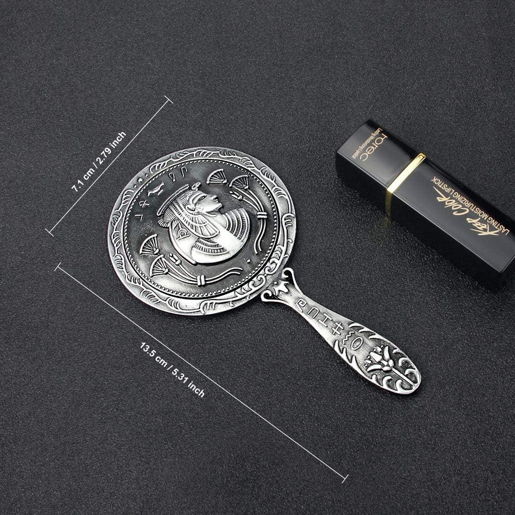 Cadeau de No/ël Id/ées Cadeaux pour Mariage 13.5 x 7.1cm Cadeau Saint-Valentin Cadeau danniversaire Orime Miroir de Poche Miroirs /à main avec /égyptien M/étal Gaufr/é Miroir Maquillage