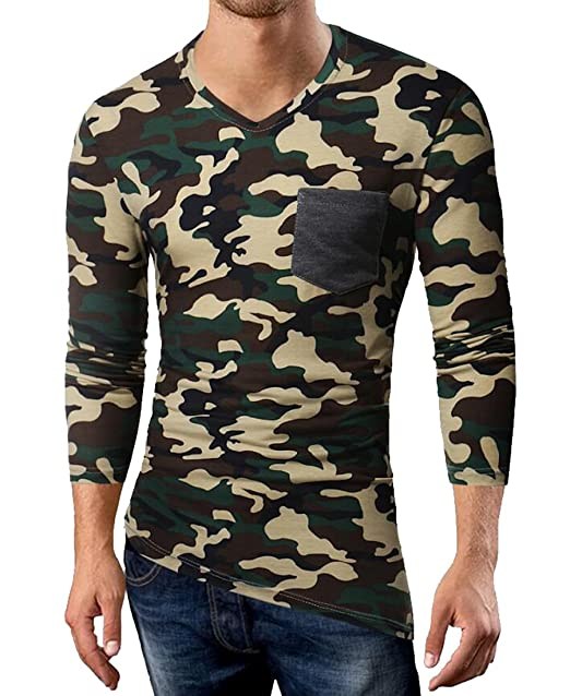 e29f7348c520 Jofemuho Men s Long Sleeve V-Neck Slim Camo Print Irregular Chest Pocket T- Shirt