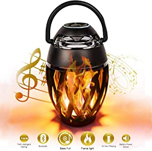 EtoBesy Flame Atmosphere Speaker Bluetooth Outdoor with Handle, LED Torch Light Wireless Portable Stereo Speakers with HD Audio Enhanced Bass with Flickers Warm Night Lights for Outside Camping Party