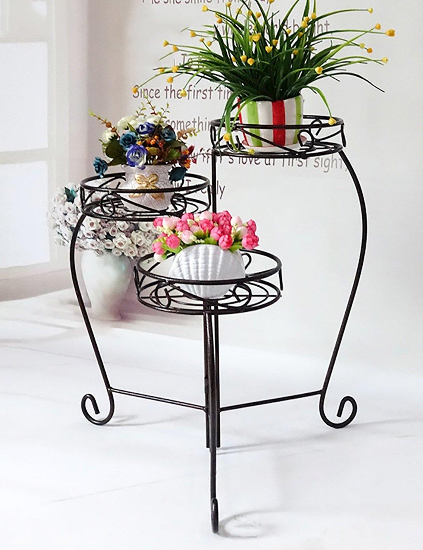 Blumenregal Iron Floor 3-lagiges Blumentopfgestell Europäische einfache Innen-und Außenbereich Pflanzen Bonsai Regale ( farbe : Schwarz , größe : 29cm*29cm*60cm )