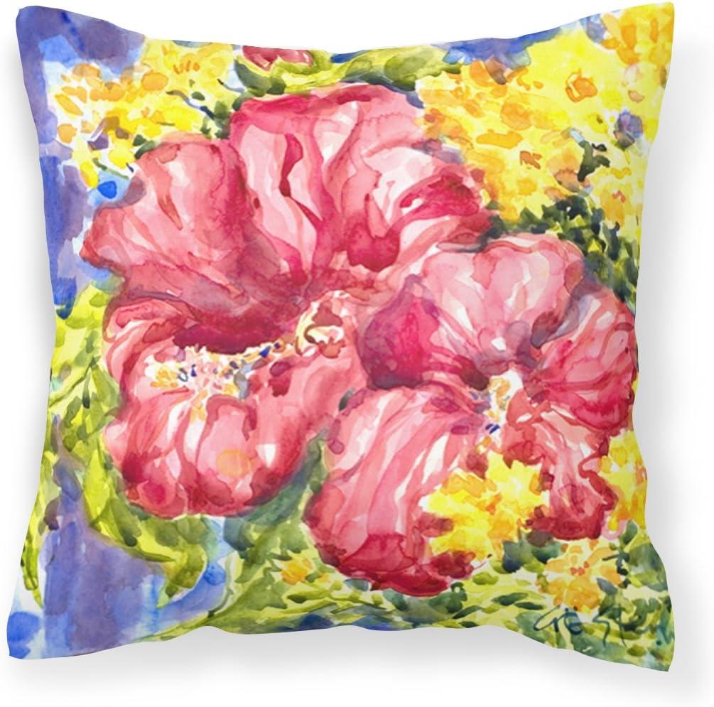 Caroline's Treasures 6056PW1414 Flower - Hibiscus Decorative Canvas Fabric Pillow, 14Hx14W, Multicolor