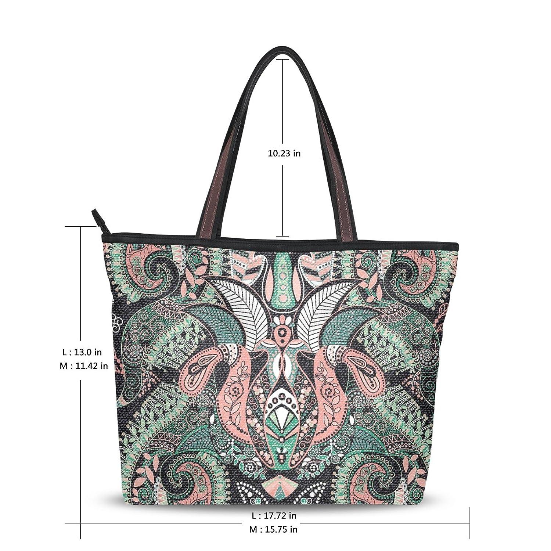 MRMIAN Women's Ladies Tote Shoulder Bag Handbag Paisley Colorful Zippered Soft