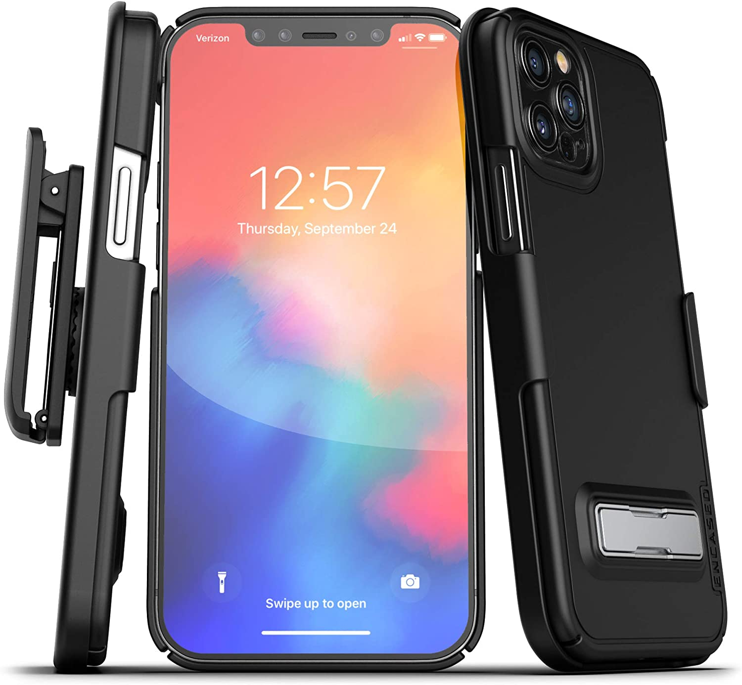 Encased Slimline Series Belt Clip Case with Kickstand Compatible with iPhone 12 Pro Max Ultra Thin Cover with Holster - Black