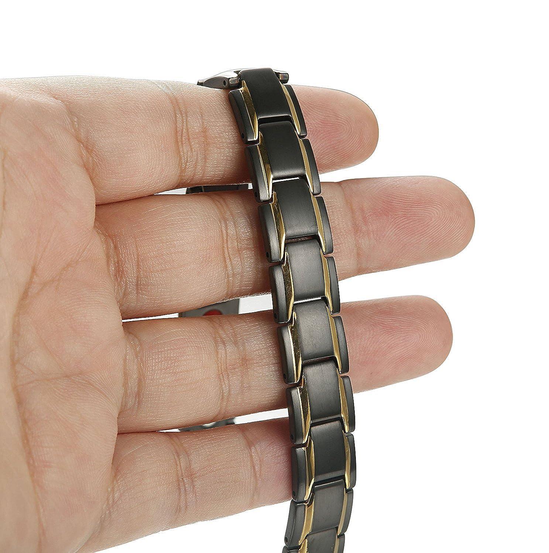 BESTEEL Acier Inoxydable Bracelet Aimant/é pour Homme Germanium Magn/étique Bracelet R/églable avec Outil Gratuit