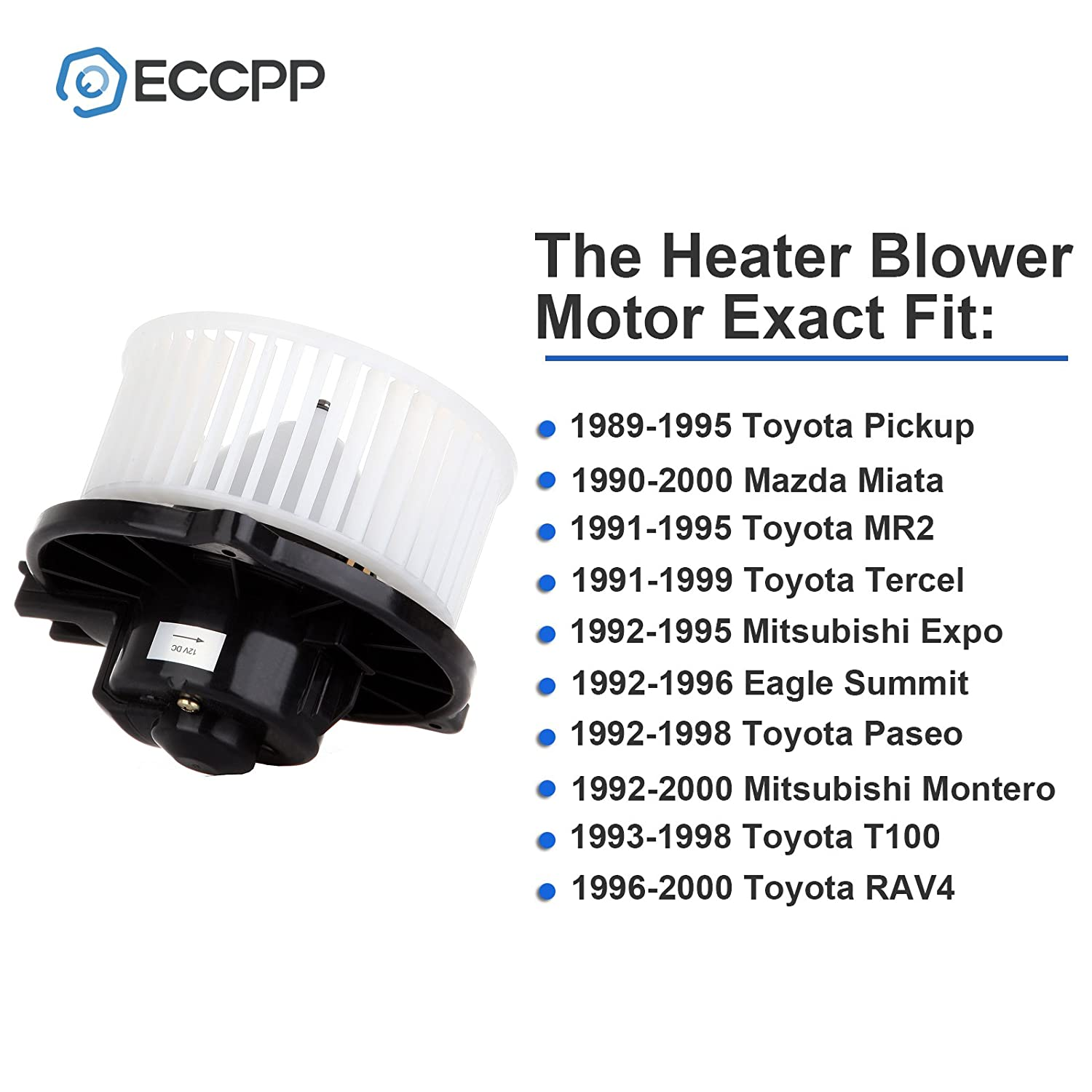 Hvac Plastic Heater Blower Motor W Fan Cage Eccpp For 1994 Eagle Summit Wiring Diagram 1989 1995 Toyota Pickup 1990 2000 Mazda Miata 1991 Mr2 1999