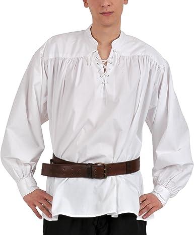 Medieval Pirata Camisa con Cuello Alto, Color Blanco, Tallas S – XXL: Amazon.es: Ropa y accesorios