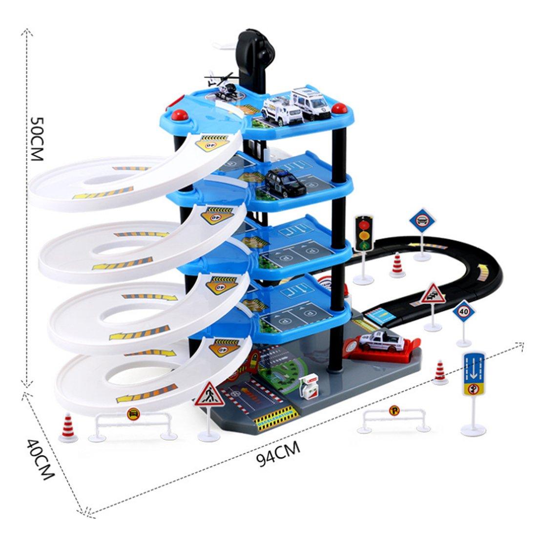 Foxom Parkgarage f/ür Kinder Autogarage Spielzeug f/ür Kinder ab 3 Jahren 5 Ebenen Parkhaus Parkgarage mit 4 Spielzeugautos und 1 Helikopter