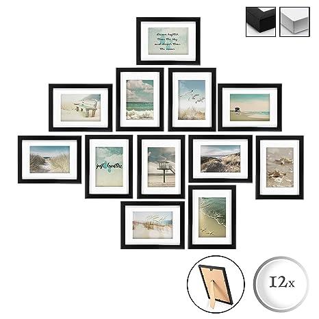 12 Holzrahmen /á 13x18cm Plexiglas Metall-Wandaufh/ängung BOMOE 12er Set Bilderrahmen Ocean Bilder-Collagen Fotorahmen aus Holz Schwarz Stand-Aufsteller und Passepartout
