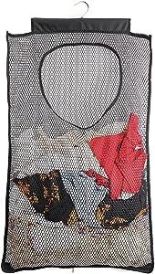 ALYER Mesh Laundry Hamper,Foldable Hanging Storage Basket,Portable Space Saving Storage Bag (Black)