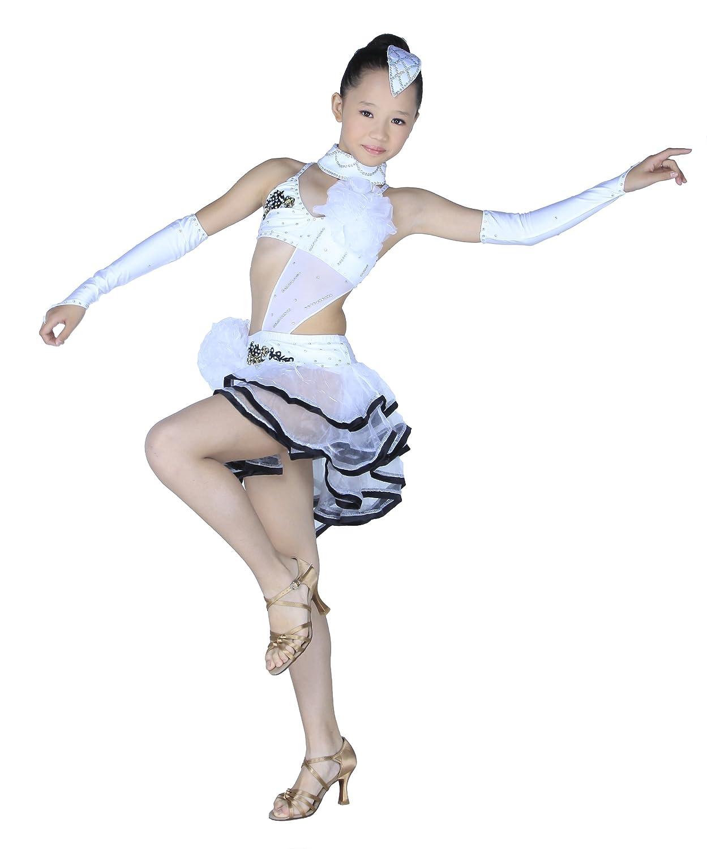 Colorfulworldstore Child Girls/Ladies Latin salsa cha cha tango Ballroom Dance Dress -Over all dress in 3sets-White