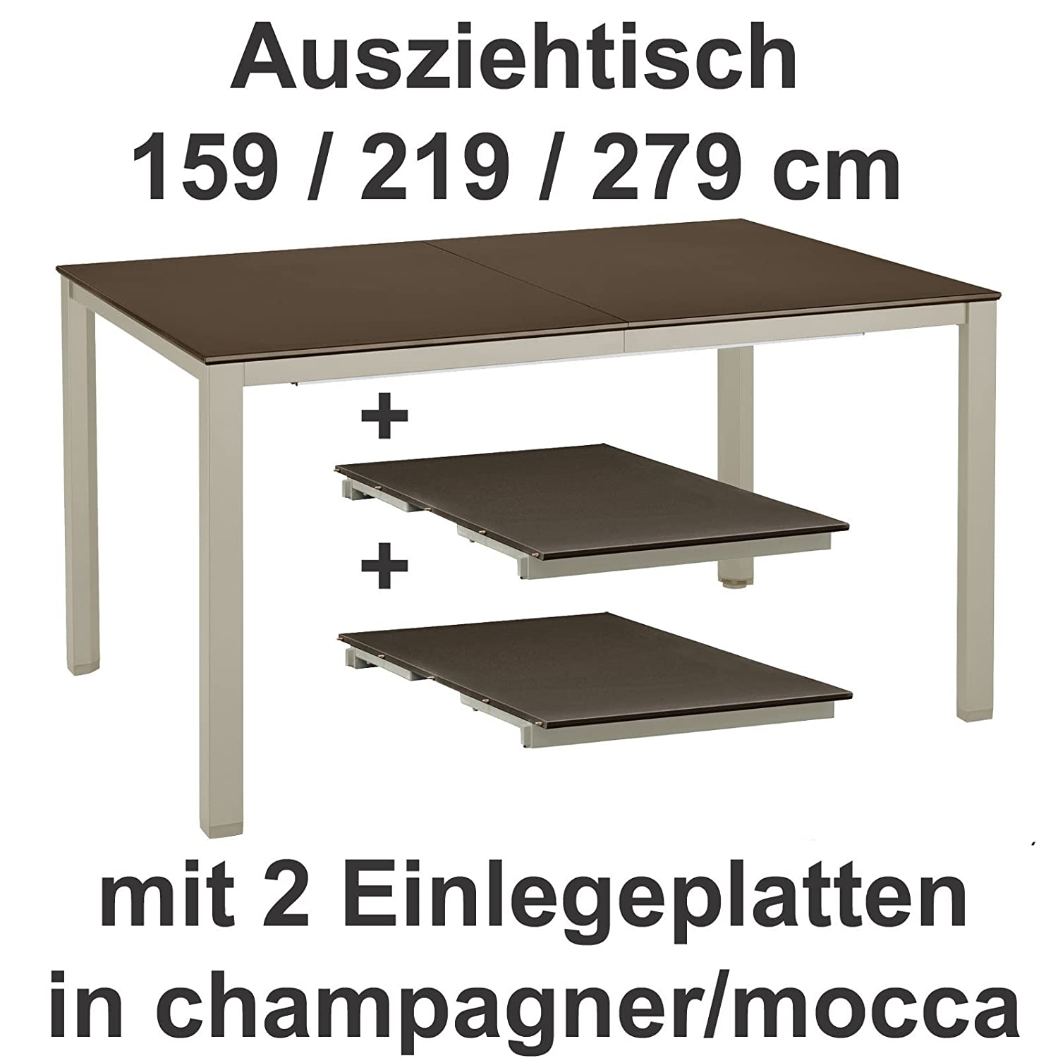 kettler ausziehtisch 159 219 279 cm in champagner mocca gartentisch g nstig online kaufen. Black Bedroom Furniture Sets. Home Design Ideas