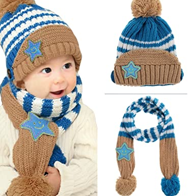 bf7721481a0 Little Kids Knitted Winter Beanie Hat and Scarf Set