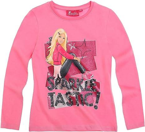 Barbie Chicas Camiseta de manga larga, color rosa Rojo fucsia 6 años: Amazon.es: Ropa y accesorios