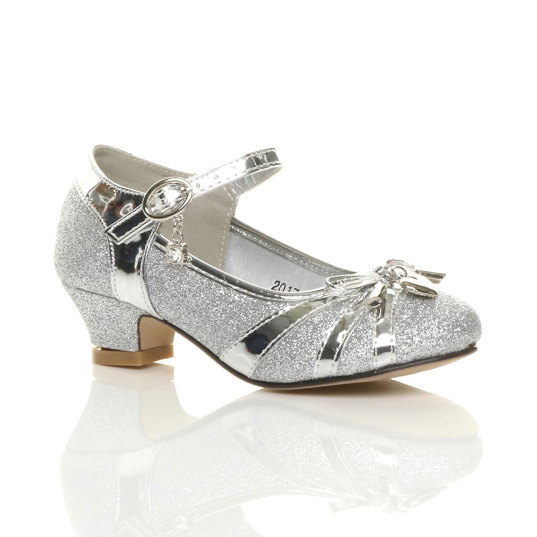 62b680ab4e8 Ajvani Girls Kids Childrens Low Heel Diamante Bow Mary Jane Glitter ...