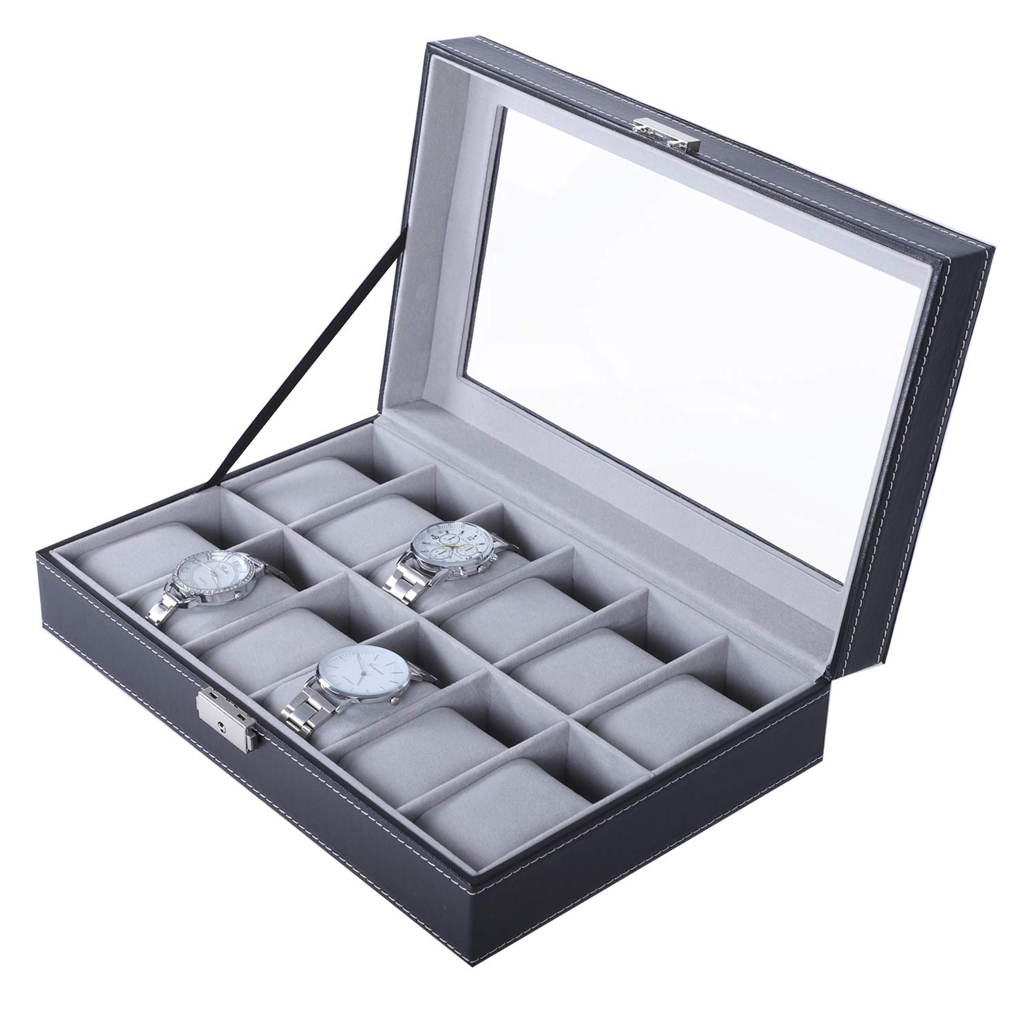 Other Retail Jewelry Displays Jewelry & Watches Reliable Faux Leather Watch Case Storage Display Box Organiser Jewelery Glass Top