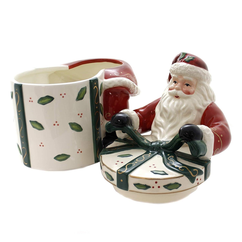 10-Inch Cosmos Gifts 10455 Emerald Holiday Santa Cookie Jar