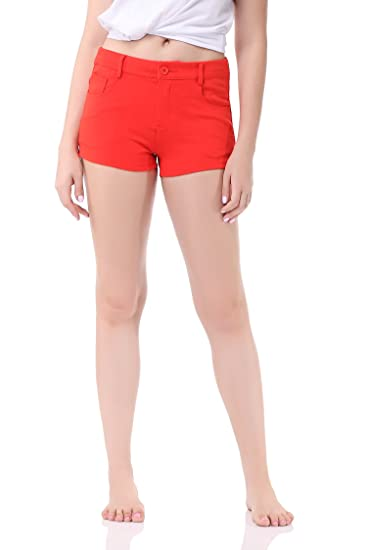 ce55046dce Image Unavailable. Image not available for. Color: Pau1Hami1ton Women's  Bermuda Low Rise Booty Shorts Solid Summer Color Stretch ...