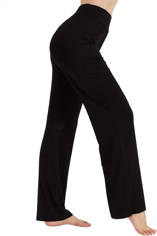 AWLE Black Yoga Pants Bootcut, Womens High Elastic High Waisted Office Pants, Plus Size Maternity Lounge Pants, Tummy Control Soft Long Bootleg Workout Pants (Black XL)
