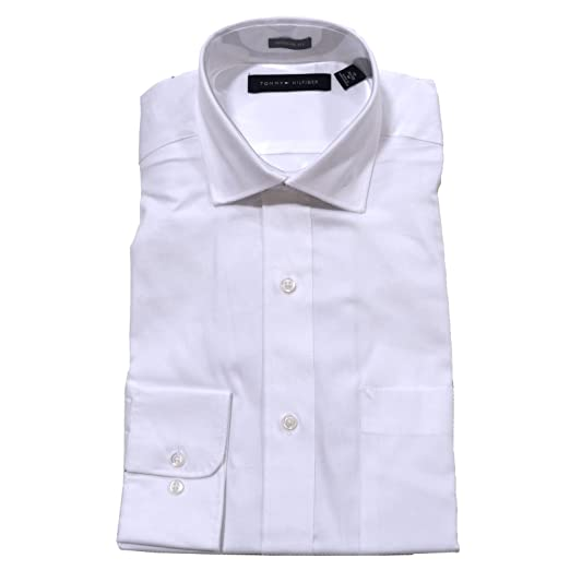 30233e3f Tommy Hilfiger Mens Regular Fit Dress Shirt in White at Amazon Men's  Clothing store: