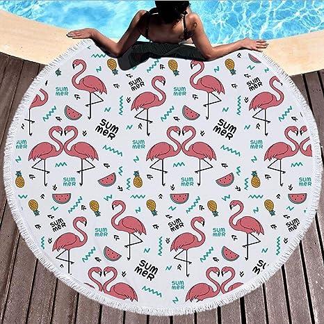 Toallas redondas de toalla de playa, manta gruesa sobredimensionada de picnic de playa de flamenco