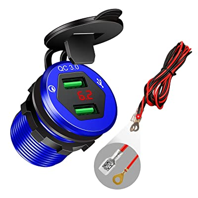 Quick Charge 3.0 Car Charger, 12V/24V USB Car Charger, Aluminum Dual QC3.0 USB Port Charger Socket Power Outlet with LED Digital Voltmeter DIY Kit for Marine, Boat, Motorcycle, Truck, Golf Cart(Blue)