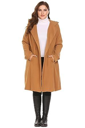 8ec0353135ee4 Zeagoo Women Plus Size Double Breasted Wool Elegant Long Lined Trench Coat
