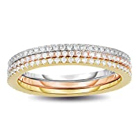 14K Rose/Yellow Gold/Rhodium Plated 925 Sterling Silver CZ Simulated Diamond 3pcs Stackable Eternity Ring