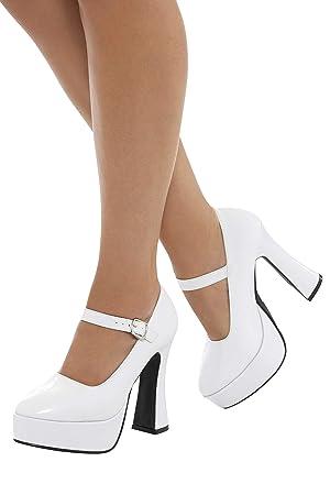 venta minorista 1792e 478e0 Smiffy'S 43075S Zapatos De Plataforma Años 70 Para Mujer, Blanco, Eu Tamaño  - 37