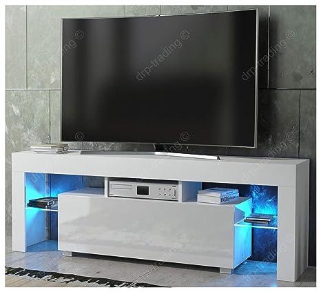 low priced dfa91 84b38 DRP Trading Modern TV Unit 130cm Cabinet White Matt and White High Gloss  FREE LED RGB Lights