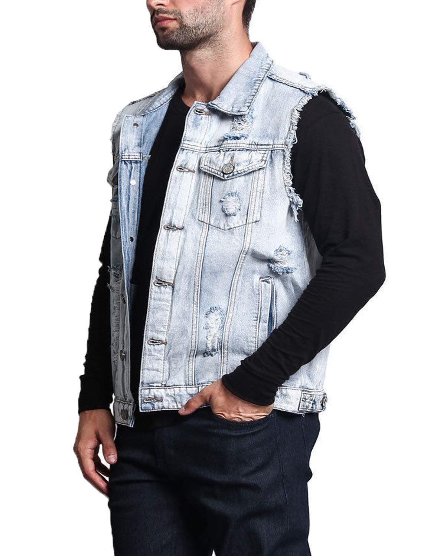 Men's Fit Retro Ripped Denim Vest Sleeveless Jean Vest and Jacket Slim Fit for Boys Light Blue