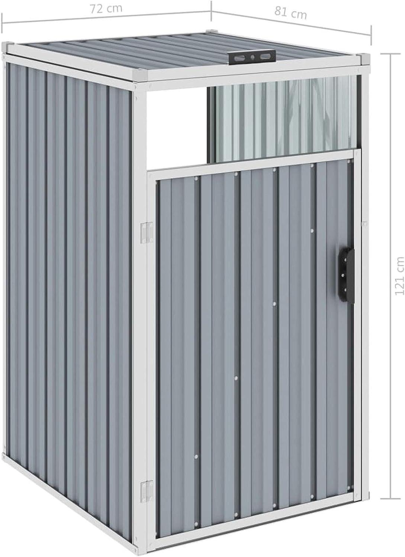 Tidyard M/ülltonnenbox Metall M/ülltonnenverkleidung M/üllbox Aufbewahrungsbox f/ür Tonnen M/ülltonnenverkleidung M/üllbox M/üllhaus Grau 72/×81/×121 cm Stahl