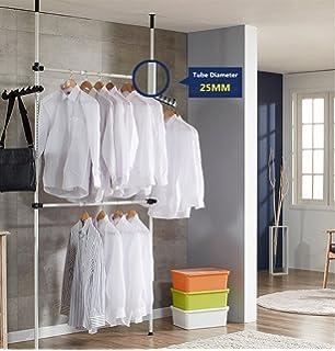 Heavy Duty Portable Garment Rack, Telescopic Clothes Wardrobe 2 Poles 2  Bars, Wardrobe Organiser