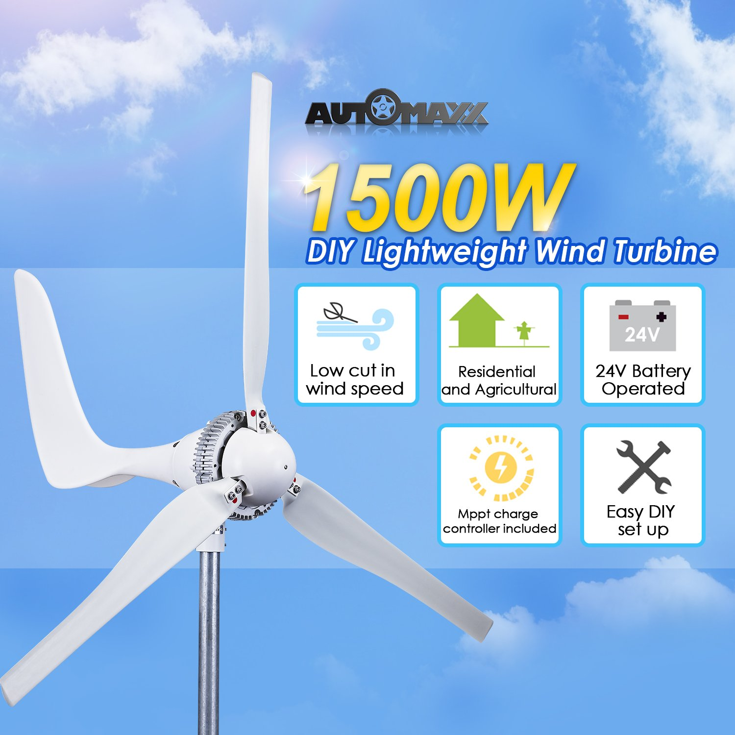 Windmill 1500w 24v 60a Wind Turbine Generator Kit Mppt Power From Or Solar Panel To House Wiring Missouri And Charge Controller Included Automatic Manual Breaking System Amp Meter