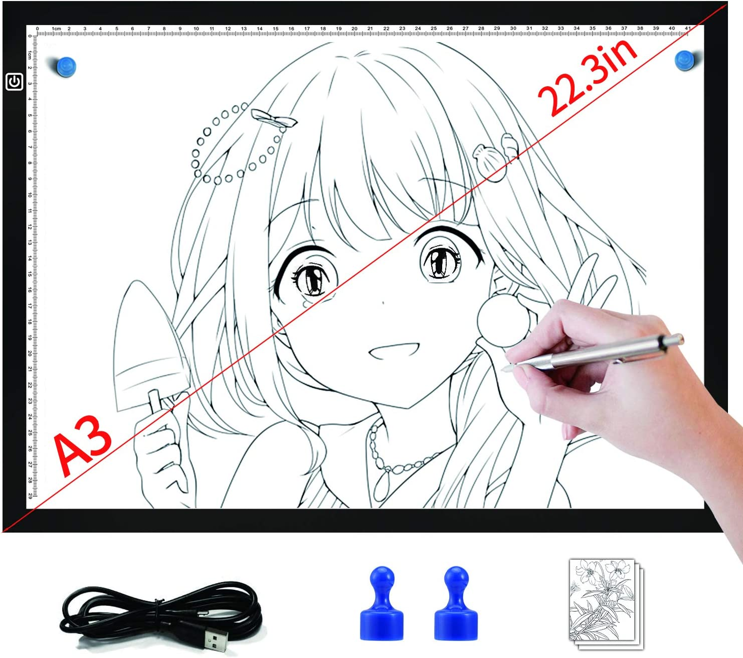 lzndeal A3/LED Light Box acrylique Dimmable Ultra Thin USB Powered Lights Pad for Tracing Sketching Designing