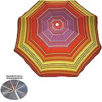 Parasol de plage en polycoton, diam. 200 cm, parasol de plage portable avec housse avec bandoulière, parasol de plage Ø 2 m coloré Positano/2, parasol en acier baguettes 3,5 mm, intérieur anti-UV
