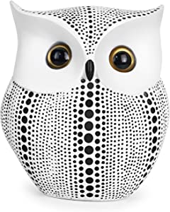 Vilike Owl Decor Statue, Cute Buho Figurines for Crafted Home Decor Accents, Book Shelf Living Room Bedroom Decorations, TV Stand Decor - Animal Sculptures Collection Gifts for Birds Lovers (White)
