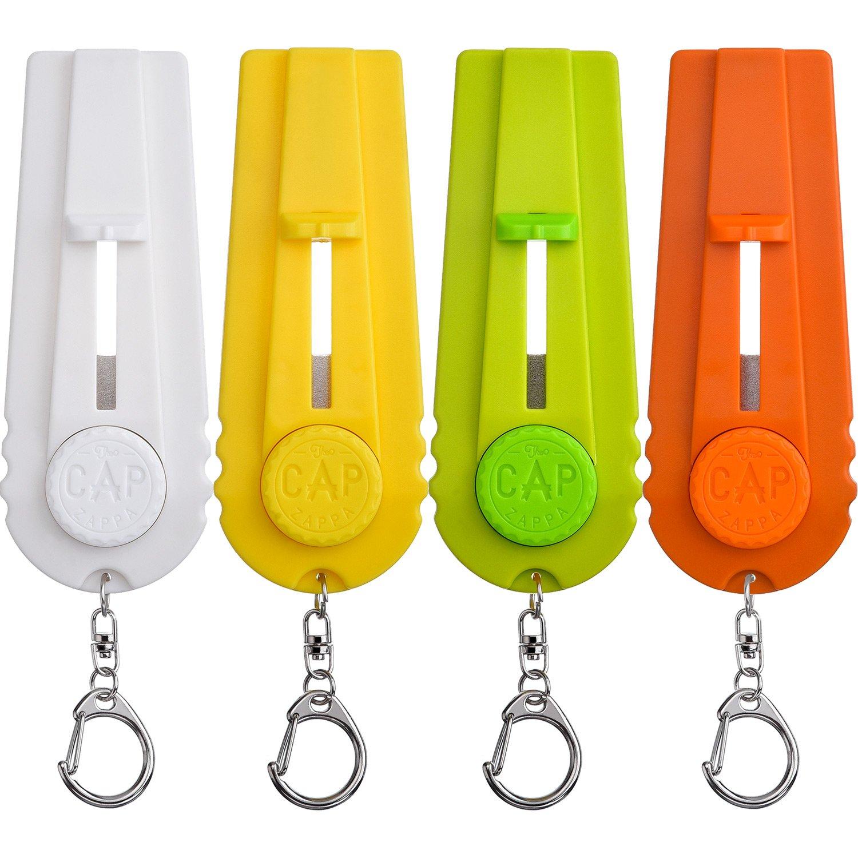 TOODOO 4 Pieces Beer Bottle Opener Cap Zappa Cap Shooters Launchers Keychain, 4 Colors