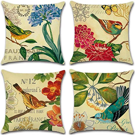 Amazon Com Psdwets Home Decor Cotton Linen Flower And Bird Country Style Decorative Throw Pillow Covers Set Of 4 Cushion Cover 18 X 18 Home Kitchen