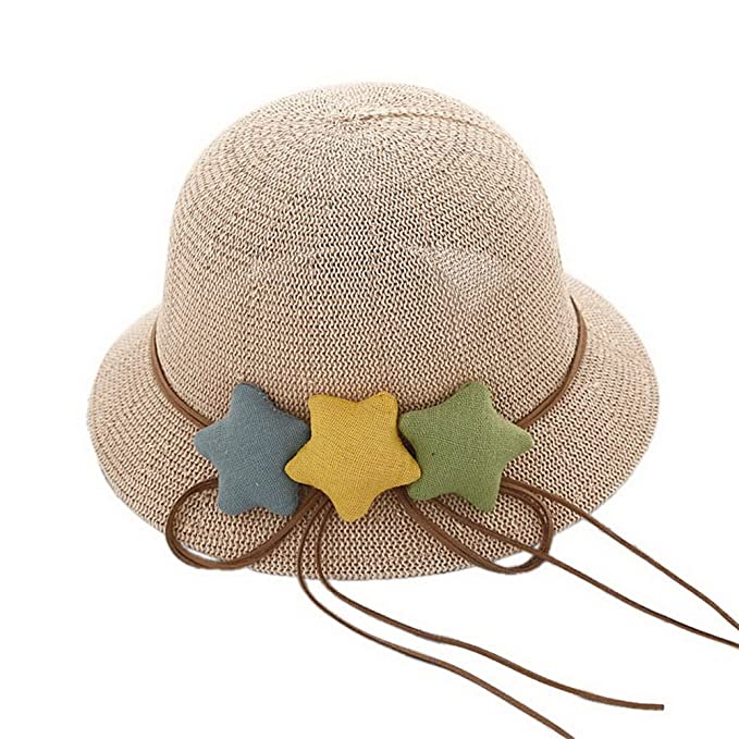1a7d0f9f023 Image Unavailable. Image not available for. Color  Star Toddler Straw  Summer Sun Beach Hats Kids Travel Broad-Brimmed Hat Girls