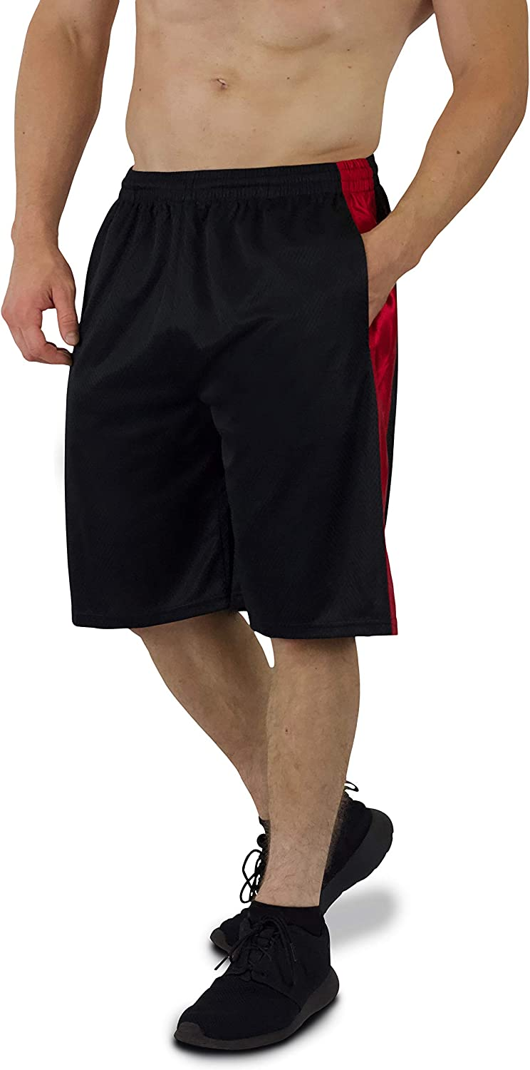 5 Pack Mens Premium Moisture Wicking Active Athletic Performance Shorts with Pockets