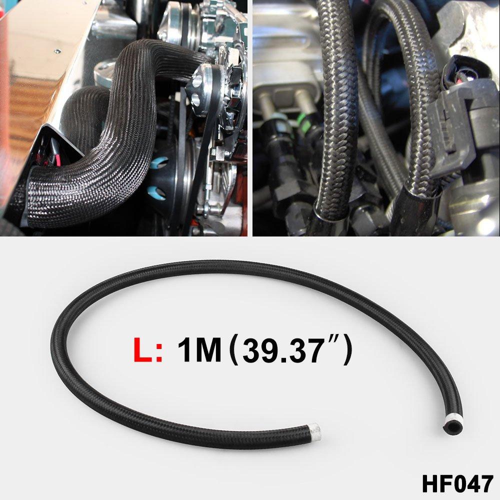 Tubo de refrigeraci/ón de Aceite Color Negro BEESCLOVER AN4-AN12 1 m, Nailon, Bomba Trenzada, Manguera de Combustible de etanol