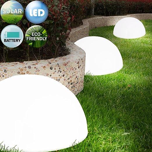 Set de 3 lámparas solares LED semi-circulaires inalámbricas de jardín o terraza. Batería recargable con el sol: Amazon.es: Iluminación