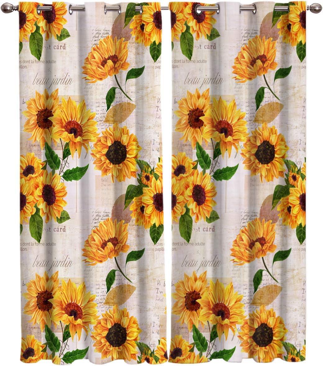 "SODIKA Window Treatment Set Room Curtains for Living Room,Kitchen,Laundry, Bedroom - Sunflower on Old Newspaper 2 Drape Panels,40""x63"""