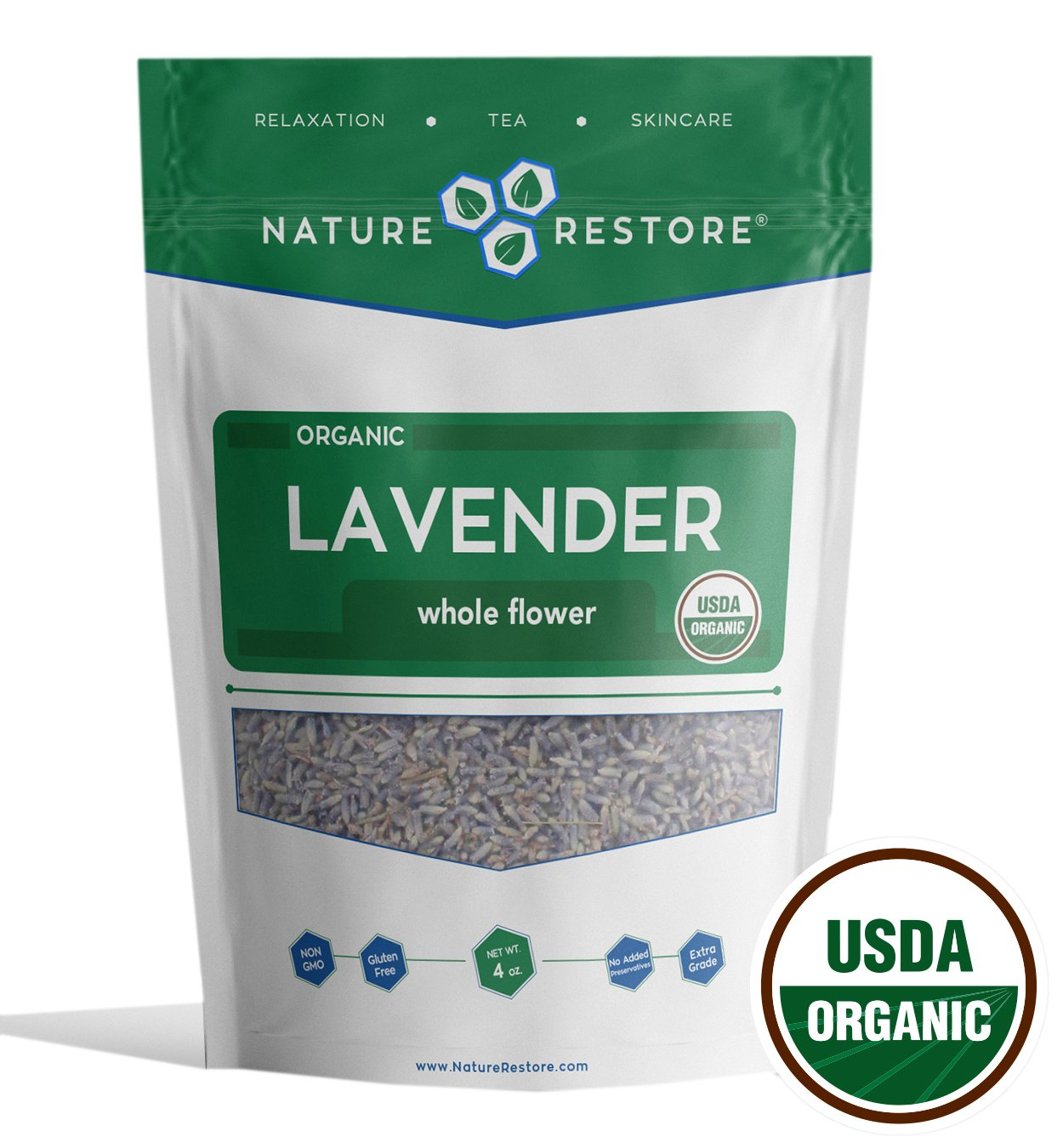 Nature Restore USDA Certified Organic Dried Lavender Flowers, Loose Leaf, Extra Grade, 4 Ounces