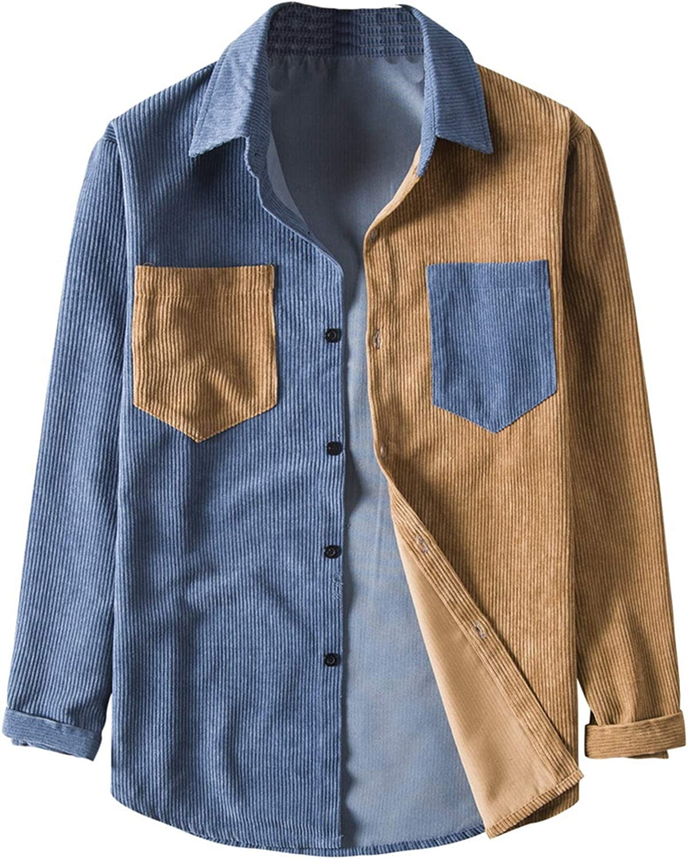 Camisa de Manga Larga de Pana para Hombre de otoño Camisa de ...